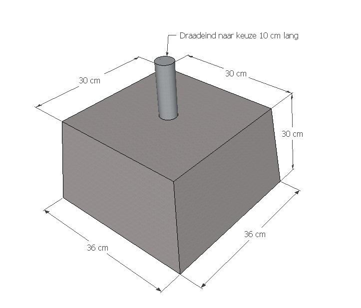 betonpoer 30 x 30 x 30 cm met draadeind naar keuze bos sierbeton. Black Bedroom Furniture Sets. Home Design Ideas
