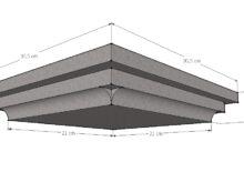 Paalmuts vlak met sierrand 21 x 21 cm grijs