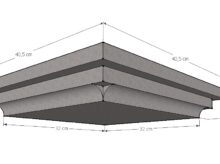 Paalmuts vlak met sierrand 32 x 32 cm grijs