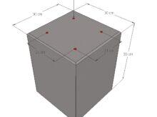 Betonpoer 30 x 30 x 30 cm met schroefhulzen M8 Grijs