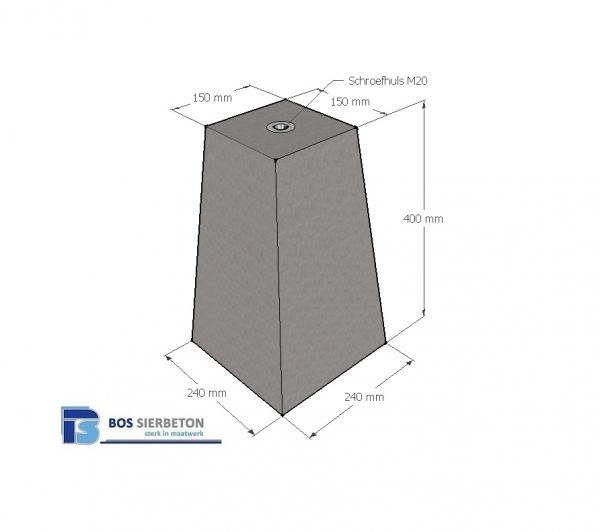 Beste Betonpoer 40 cm hoog schroefhuls M20 | Bos Sierbeton VP-47